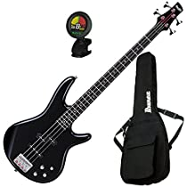 Ibanez GSR200BK 4 String Electric Bass Guitar (Black) w/ Gig Bag and Tuner