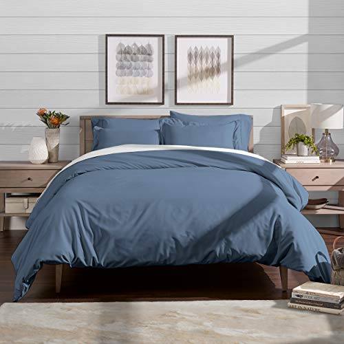 Bare Home Luxury 3 Piece Duvet Cover and Sham Set - Full/Queen - Premium 1800 Ultra-Soft Brushed Microfiber - Hypoallergenic, Easy Care, Wrinkle Resistant (Full/Queen, Coronet Blue) (Sham Queen Double)
