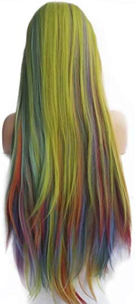 Peluca Peluca Piano Colores del arco iris Verde Azul Zafiro ...