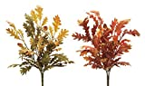 Melrose Rust, Green and Yellow Artificial Oak Leaf Bushes, Spray 15'' (2)