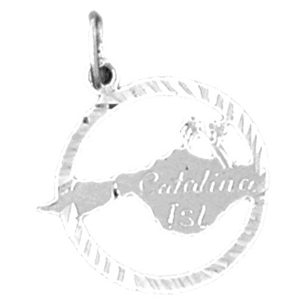 Jewels Obsession Catalina Island Necklace Rhodium-plated 925 Silver Catalina Island Pendant with 30 Necklace