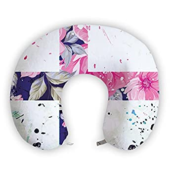EnjoyIt Fantastic Flowers U-Shape Neck Pillow with Perfect Design Cloth with Soft Nap Surface and High Quality Memory Foam Insert