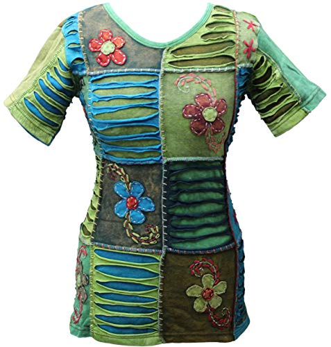 (Shopoholic Fashion Women Patchwork Body Fit Vest Blouse Ladies T-Shirt Festival Hippie Summer Tops[2XL])