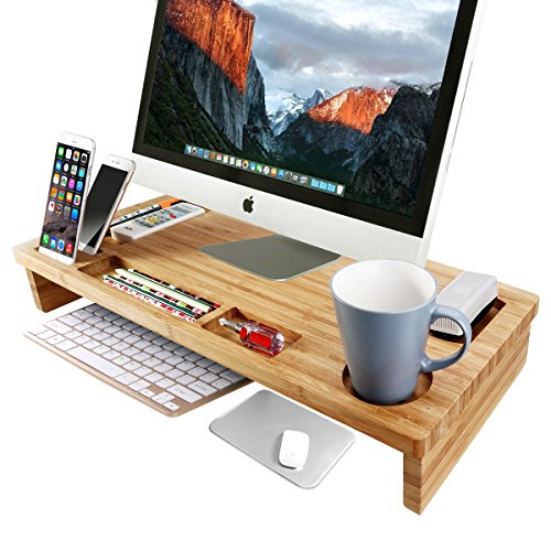 OULII Bamboo Monitor Stand Riser 25.6″ Width Lap Desk with Storage Organizer (Large) by OULII