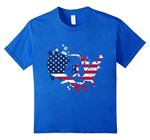 Kids Sasquatch Footprints America Patriotic 4th of July T-Shirt 12 Royal Blue (Bigfoot Costumes For Kids)