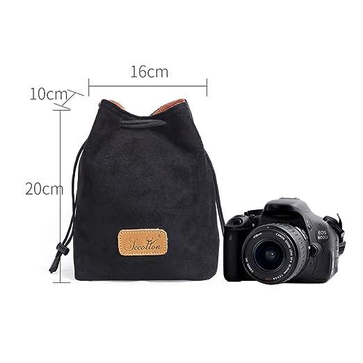 Kamiwwso - Bolsa Protectora con cordón para cámara Nikon Canon ...