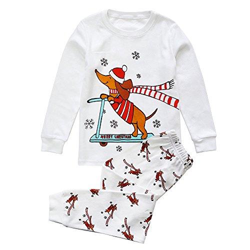 Toddler Boys Girls Holiday PJS 100% Cotton 2pcs Unisex Infant Kids Loungewear Christmas Pajamas Sleepwear Set, (24 Months)