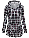 Kangaroo Hoodie, Womens V Neck Long Sleeve Hooded Tee Shirt Wrinkle Free Retro Country Style Grid Printed Shirttail Tunic Blouse Prime Wardrode Clothing Plaid Red Black L