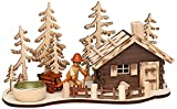 Sigro Vogtland Souvenir Laser Wood Smoked Mountain Hut with Tealight Holder and Forest Workers Figure Window Cling, 13 x 25 x 12 cm, Beige, One Size