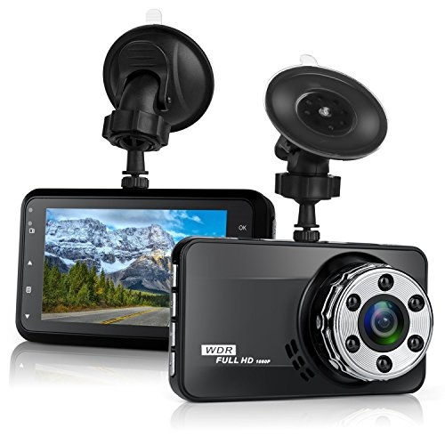 Dash Cam, Mokcoo 1080P Full HD 3.0″ LCD Car Camera Video Recorder 170° Wide Angle Dashboard DVR Camcorder Built-in G-Sensor WDR Night Vision Loop Recording & Motion Detection (1080P)