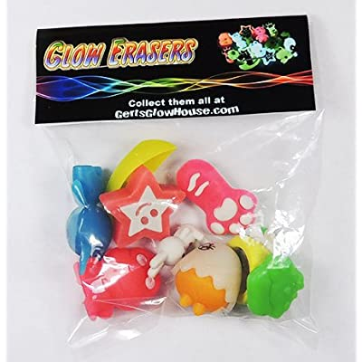 Glow-in-the-Dark School Pencil Erasers - FROGS - Glowing Kids Eraser Set: Office Products