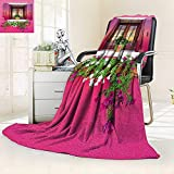 YOYI-HOME Duplex Printed Blanket, House Rustic Dreams Romantic Atmosphere House Wooden Windows He s Flowers Bougainvilleas ations Anti-Static,2 Ply Thick,Hypoallergenic/47 W by 59'' H