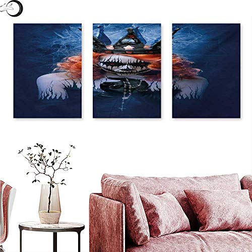 Anniutwo Queen Canvas Print Wall Art Queen of Death Scary Body Art Halloween Evil Face Bizarre Make Up Zombie Triptych Photo Frame Navy Blue Orange Black W 20