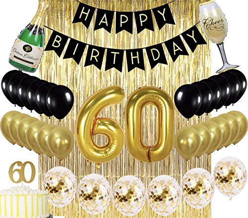 Sllyfo 60th Birthday Decorations Party Supplies gold Kit - 60th Birthday Gifts for men or women,60th Cake Topper|Banner|sash|Rose gold Curtain Backdrop Props|Confetti Balloons|Champagne balloon.