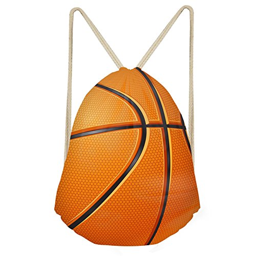 Junior Drawstring Backpack (FOR U DESIGNS Draw String Back Junior Kids Basketball Pattern College Boys Gympack)
