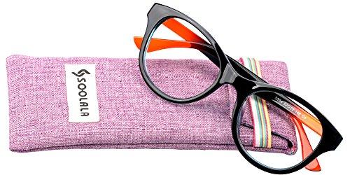 SOOLALA Lovely Hit Color Oversized Clear Lens Eye Glasses Frame Wide Reading Glasses, Blue, - Men Eyeglasses Modern For