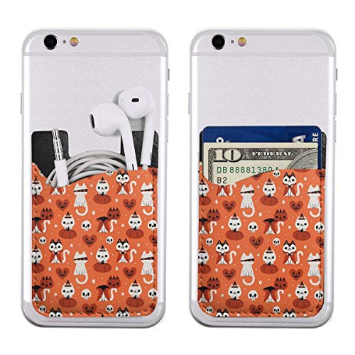 Halloween Cat Ultra Slim Phone Pocket ID Credit Card Holder Sleeves Pouch Compatible All Smartphones