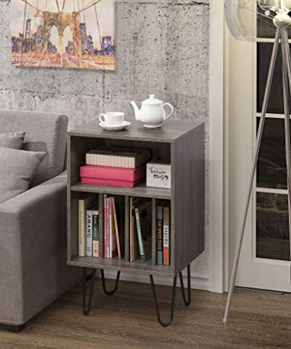 Weathered Grey Finish Turntable Stand, Nightstand, Side End Table, Media Storage, Display Stand, Bookcase 34 H – Mid-Century Style