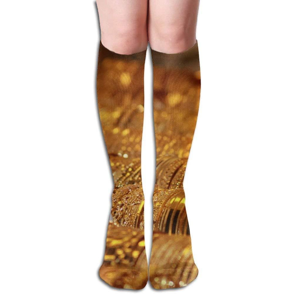 Unisex Gold Market Bracelets Jewelry Casual Athletic Running Long Socks Novelty Knee High Sock