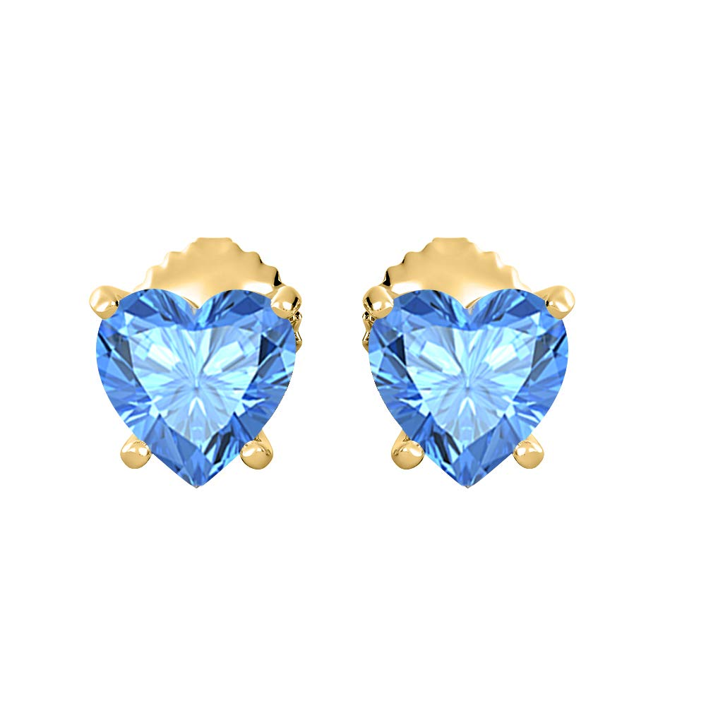 tusakha Lovely Heart Shaped 5MM Gemstones Solitaire Stud Earrings 14K Yellow Gold Over .925 Sterling Silver For Womens