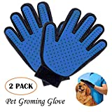 Pet Grooming Glove, QMAY Pet Hair Remover Mitt 2Pack, Gentle Deshedding Brush Glove