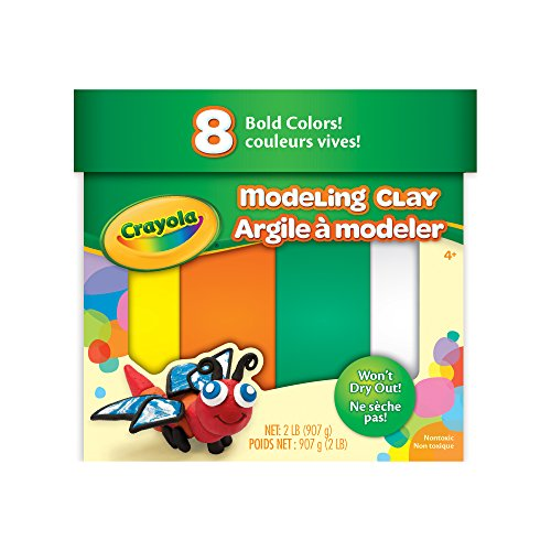 Crayola 8 Bold Colors 2 Lb NonToxic Art Tool for Kids 4 amp Up Traditional Modeling Clay Multicolor