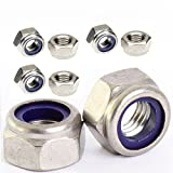 50pcs M4 x 0.7mm Pitch STAINLESS NYLOC NYLOCK LOCK NUTS
