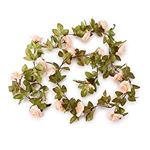 Greentime 2 Pack 17 Heads 7.2 Ft/pc Artificial Silk Fake Flowers Autumn Rose Vine Hanging Plants Wedding Home Party Arch Thanksgiving Decor 2