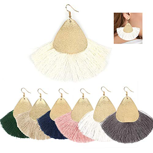Fan Shape Earrings - AMCHIC Fan Bohemian Statement Metal Silky Tassel Fashion Earrings for Women Dangling,Thread Fringe Vintage Ethnic Teardrop Leaf Earrings