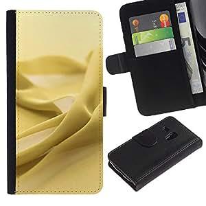 Paccase / Billetera de Cuero Caso del tirón Titular de la tarjeta Carcasa Funda para - Yellow fabric texture - Samsung Galaxy S3 MINI NOT REGULAR! I8190 I8190N