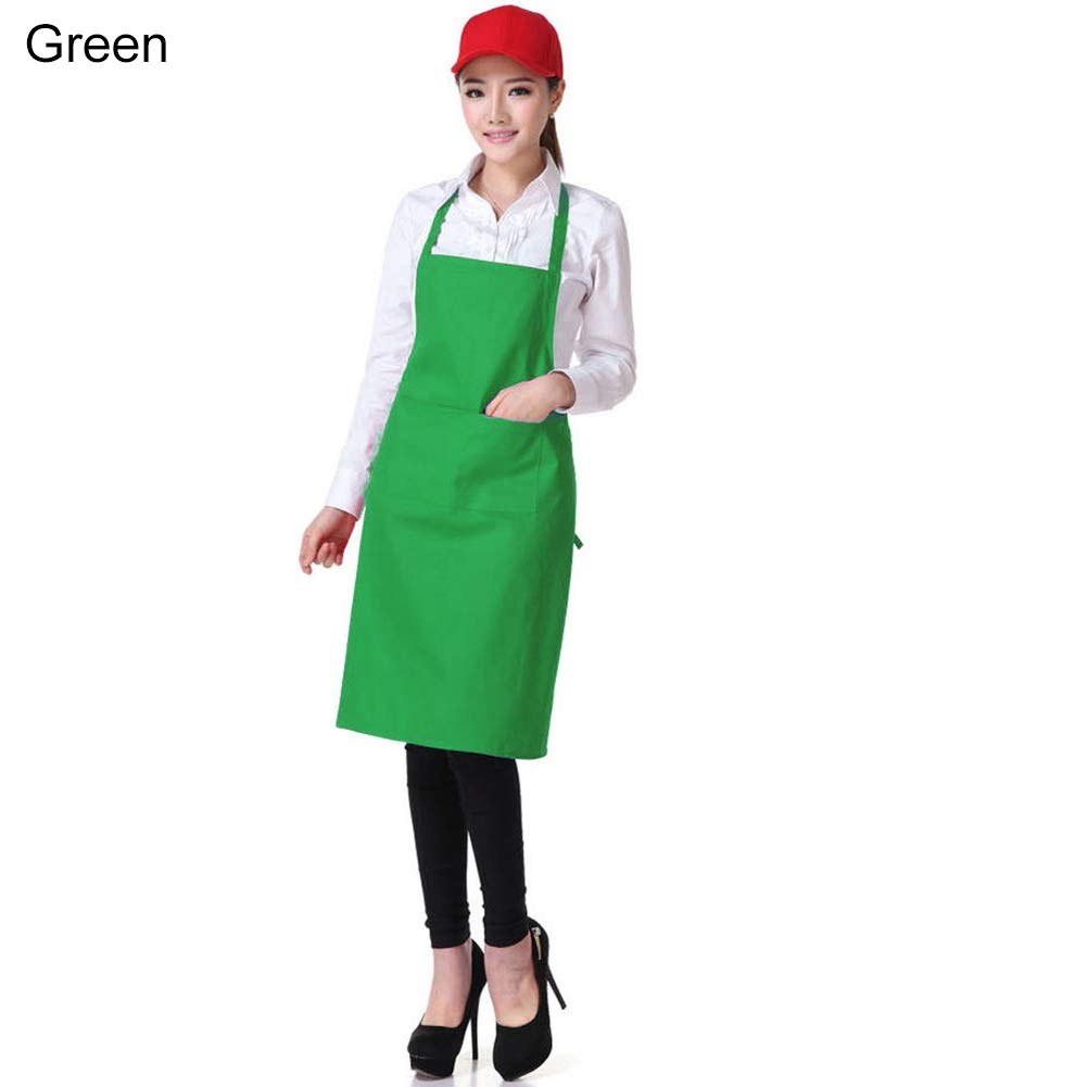 SZhsks Cooking Apron with Pocket Unisex Simple Pure Color Kitchen Restaurant Bib For Baking Gardening Restaurant BBQ For Men and Women