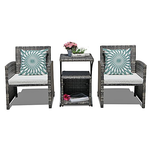 Orange Casual 4 Pieces Outdoor Wicker Patio Bistro Set Weather Resistant Patio Rattan Furniture Sets with 2 Side Tables for Garden Backyard Pool