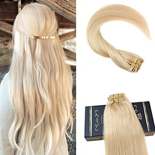 Ugeat 16inch Full Head Clip in Hair Extensions Real Human Hair 7 Pieces 120 Gram Full Head Clip in...