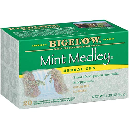 Bigelow Mint Medley Herbal Tea Bags 20-Count Boxes (Pack of 6) Caffeine-Free Individual Herbal Tisane Bags, for Hot Tea or Iced Tea, Drink Plain or.