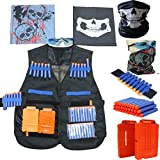 (US) Elite Tactical Vest Kit for Nerf N-strike Elite Series 1 x Tactical Vest 20pcs x toy darts 2 x 6-dart quick reload clip 2x face tube mask 1 x Hand Wrist Band. 1 x Protective glasses,