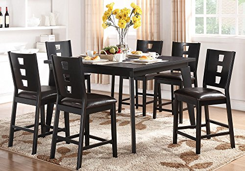 1PerfectChoice 7 pcs Counter Height Dining Set Rectangular Table Dark Brown PU Chair Wood Black