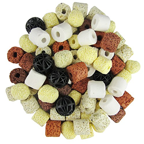 OUFISH Aquarium Bio Balls Fish Tank Pond Bio Filter Media Ceramic Biological Filtration Rings with Mesh Bag (Pond Media Biological Filter)