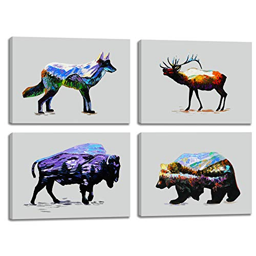 Elk Deer Wolf Bear Bison Vintage Wall Art Abstract Printed Paintings Rustic Home Decor Cabin Decal Print Canvas Picture 4 Panel Poster for Living Room Bedroom Framed Ready to Hang (16