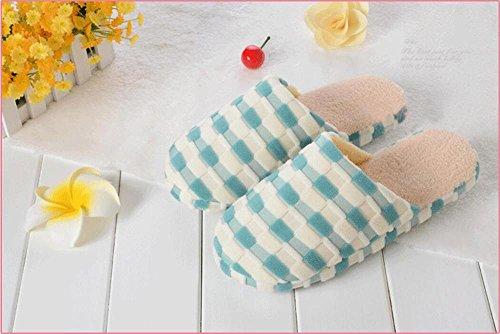 Cotton Home Lattice Bump Fashion Colorful Green Slippers Slipper Couple Squares Design BwPr1Baq