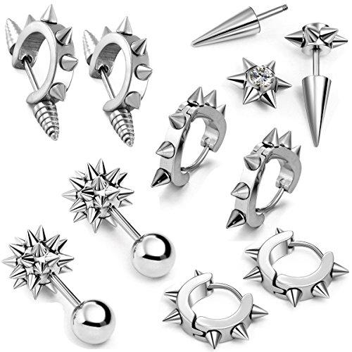 Aroncent 10 PCS Stainless Steel Men Women Ear Stud Earring Huggies Piercing Spike Rivet Cone Taper Silver (Spike Earring Hoop)