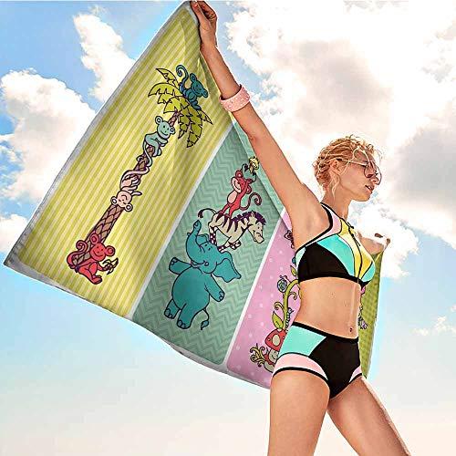 "Custom Bath Towels Beach Nursery,Vintage Children Banner Set Animals Safari Palm Tree Flowers Princess Mushroom,Multicolor,Suitable for Home,Travel,Swimming Use 20""x39""inch"