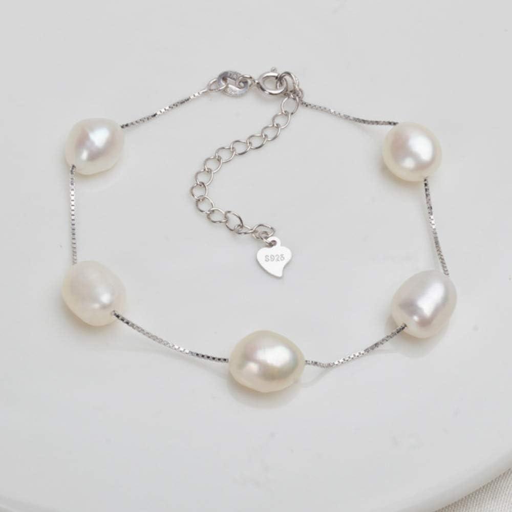 Pulsera De Plata Esterlina 925 Genuina 8-9 Mm Blanco Gris Natural De Agua Dulce Joyería De Perlas Barrocas para Mujeres 18 Cm