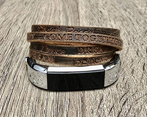 Luxury Leather Bracelet For Fitbit Alta/Alta HR Tracker Handcrafted Brown Multi Wrap Adjustable Size Fitbit Alta HR Band Embossed Inspirational Words Buckle Clasp Wristband Fitbit Alta Bracelet