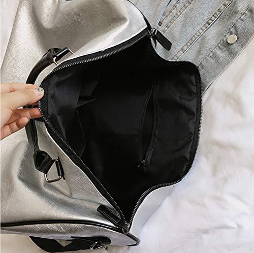 Bolsa De Gran Viaje 30cm Sólido Ahda Bandolera Portátil 46cm white Bandolera Pu 17cm Capacidad Equipaje White Color qAFnE