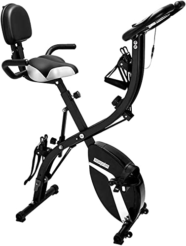 LINCINK Folding Magnetic Upright Exercise Bike Portable Fitness Cycle