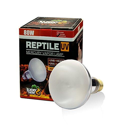 LUCKY HERP 80 Watt UVA UVB Mercury Vapor Bulb Self-Ballasted UV Heat Lamp/Bulb/Light for Reptile and Amphibian