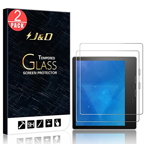 J&D Compatible for Amazon All-New Kindle Oasis 2017 Screen Protector/All-New Kindle Oasis 2019 Screen Protector, 2-Pack [Tempered Glass] [Not Full Coverage] HD Clear Ballistic Glass Screen Protector