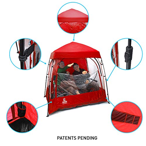 EasyGoProducts CoverU Sports Shelter – 2 Person Weather Tent Pod (RED) – Patents Pending ()