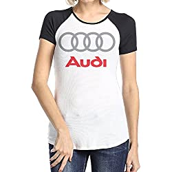 Women's Audi Logo Short Sleeve Raglan Baseball T-shirt Black