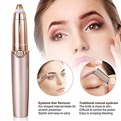 Eyebrow Trimmer for Women, Eyebrow Hair Trimmer, 2019 Upgraded Electric Eyebrow Trimmer, Premium Eyebrow Trimmer for Painless Facial Hair Removal, Rose gold